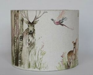 Handmade Voyage woodland rabbit deer bird Enchanted Forest drum lampshade medium