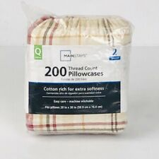 MAINSTAYS Pillowcases 2 Pc Size Queen 200 Thread Count Multi Color Plaids Checks