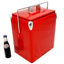 Vintage Cool box PLAIN Cooler RED Retro Cooler Retro Coolbox present AAC077
