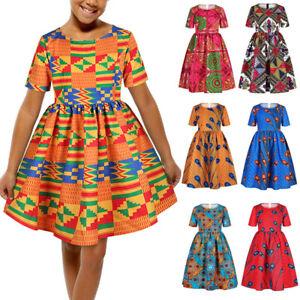 Kids Girls African Swing Dress Summer Mini Skater Party Evening A-Line Dresses