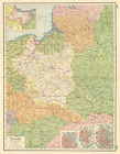 POLAND. inset plans of Danzig Gdansk Warsaw Kraków Cracow.East Prussia 1920 map