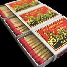10 Boxes = 400 Red Sticks Original Phrayanak Thai Wooden Matches Fire Starters