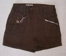 Vintage Boys Shorts - Age 7-8 Approx - Brown Drill - Zip Front - Key Ring - New