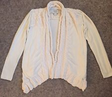 Lucky Lotus Brand Womens Knit Open Front Cardigan Sweater Top Ivory Size Large