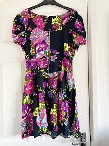 H! by HENRY HOLLAND Dress Black Pink Blue Floral Fit Flare Dress Size 16