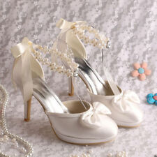 High Heel (3-4.5 in.) Mary Janes Satin Bridal Shoes