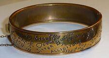 1930's Brass Novelty Bracelet Music Jazz Age Sayings Jitter Bug Jive Hep Cat Etc