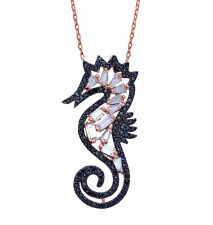 925 Sterling Silver Black Seahorse Necklace with Baguette Stones