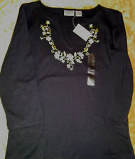 Black Embroidered Blue Floral Top Shirt Blouse M Bloomingdale Sutton Studio NWT