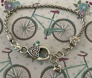 "Brighton Crystal Heart Add Beads/Charms Bracelet W/ Non-Brighton Clasp Silver 8"""