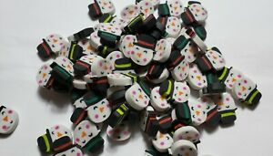 Lot of 40 Mini Snowman Face Holiday Christmas Rubber Pencil Eraser Small