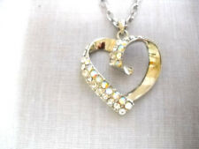 """RHODIUM PLATED IRIDESCENT CRYSTAL HEART PENDANT ON 16 CHAIN NECKLACE 3"""" EXTENDER"""