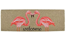 rectangle Coco Botte Tapis de porte PVC renforcé anti - dérapant FLAMANT ROSE