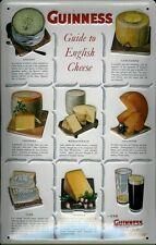 Blechschild Guinness Bier Guide to English Cheese Käse retro Schild Werbeschild