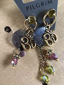 PILGRIM  GREEN ENAMEL Beads VERY LONG EARRINGS New