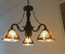 """Tiffany Style Stained Glass Mission Chandelier 23"""" Wide   ~ONLY ONE THIS PRICE~"""