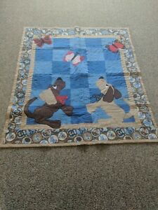 Handmade Baby Quilt With Dogs And Butterflies Appliqued