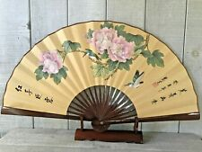 Large Vintage Chinese Folding Wall Fan Hand Painted w/Stand Signed