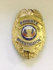 Obsolete Vintage Private Investigator Badge, Official, Oval, Gold Finish, Metal