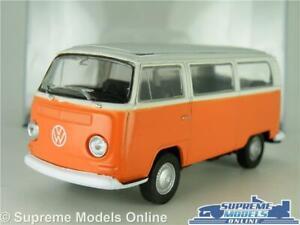 VOLKSWAGEN VW T2 MODEL CAMPER VAN BUS 1973 ORANGE & WHITE 1:38 + DISPLAY CASE K8