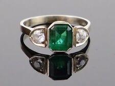 Art Deco 1.2CT Natural Emerald and 0.5CT Diamond 18K Gold Ring, 3.4g, size 7 1/2