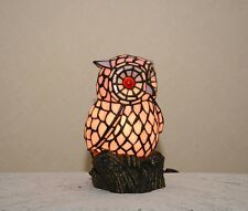 """10.5""""H Stained Glass Handcrafted Owl Night Light Table Desk Lamp."""