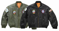 New MA1 Kids Children Army Airforce Flight Pilot Bomber Style Jacket Badges