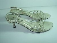 WOMENS GOLD LEATHER NINA STRAPPY SANDALS SLINGBACK HIGH HEELS SHOES SIZE 9.5 M