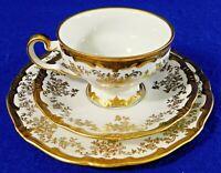 3pc Trio Set Weimar KATHARINA Germany GOLD & WHITE Tea Cup Saucer Dessert Plate