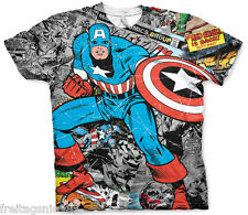 MARVEL CAPTAIN AMERICA Comics  Allover T-Shirt  camiseta officially licensed