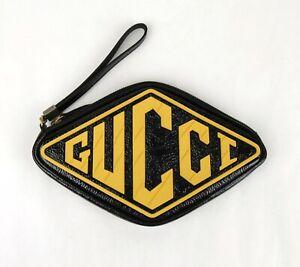 Gucci Unisex Black Patent Leather Diamond Shape Wrist Wallet 524316 8177