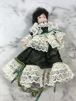 """Collectible Vintage Doll Green White Lace Victorian Dress 15"""""""