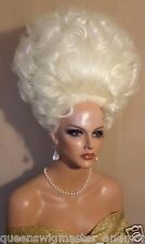 Drag Queen Wig Big Tall Up Do in White Blonde All Hair Up