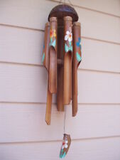Colorful Painted Tropical Flowers Half Coconut Top Bamboo Wind Chimes Free Ship