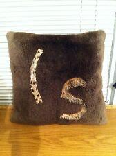 Genuine American Long Sheared Beaver With Bobcat Inlay Fur Pillow