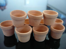 10  Mini Terracotta Flower Pots  Dollhouse Miniatures Supply Garden