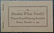 1919 THE SHREDDED WHEAT FAMILY'S Theater Party & Dancing Reception Booklet -Nice