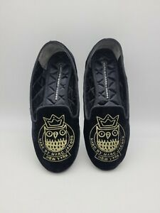 Marc Jacobs • Black Velvet Smoking Slippers Shoes Owl Gold Embroidered  Size 36