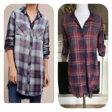 Anthropologie Cloth & Stone Red/Blue Plaid Flannel Fringe Tunic Dress Size S