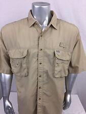 G.P.S. Global Tracking Fishing Gear Vented Shirt Men's Size XL Beige EUC