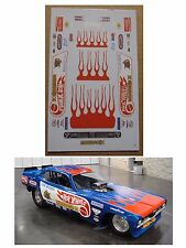 Tom McEwen Hotwheels Funny Car decal 1/64 scale AFX Tyco Lifelike Autoworld