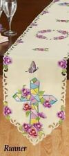 """Embroidered Floral Mosaic Cross Table Runner 68 3/4""""L x 12 3/4""""W"""