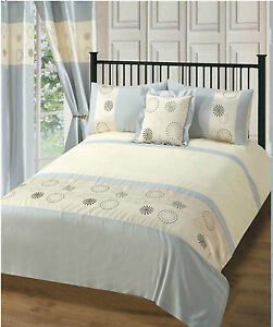 Luxury Embroidery Silver Circles Duvet Cover Bedding Set With Pillowcase 3 Sizes