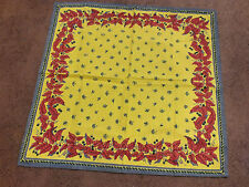Collectible Scarf Cotton Labeled Made in India Gold Red Blue Floral Butterflies