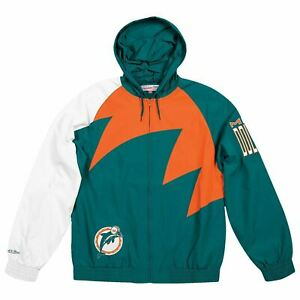 Mens Mitchell & Ness NFL Shark Tooth Jacket Miami Dolphins