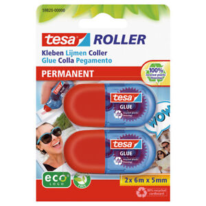 Tesa Glue Roller twin pack permanent 5mm x 6m 100% recycled product