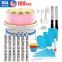 106pcs Set Cake Decorating Supplies Pieces Kit Baking Tools Turntable Stand Pen