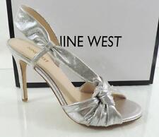 Nine West ULTANA Slingback Dress Sandals Heels Light Silver Metallic Size 8.5