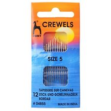 PONY SIZE 5 CREWELS / EMBROIDERY HAND SEWING NEEDLES GOLD EYE - - PACK OF 12 BN