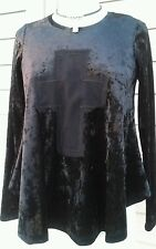 Ivy Jane casual Small black blouse top with long sleeve and cross details